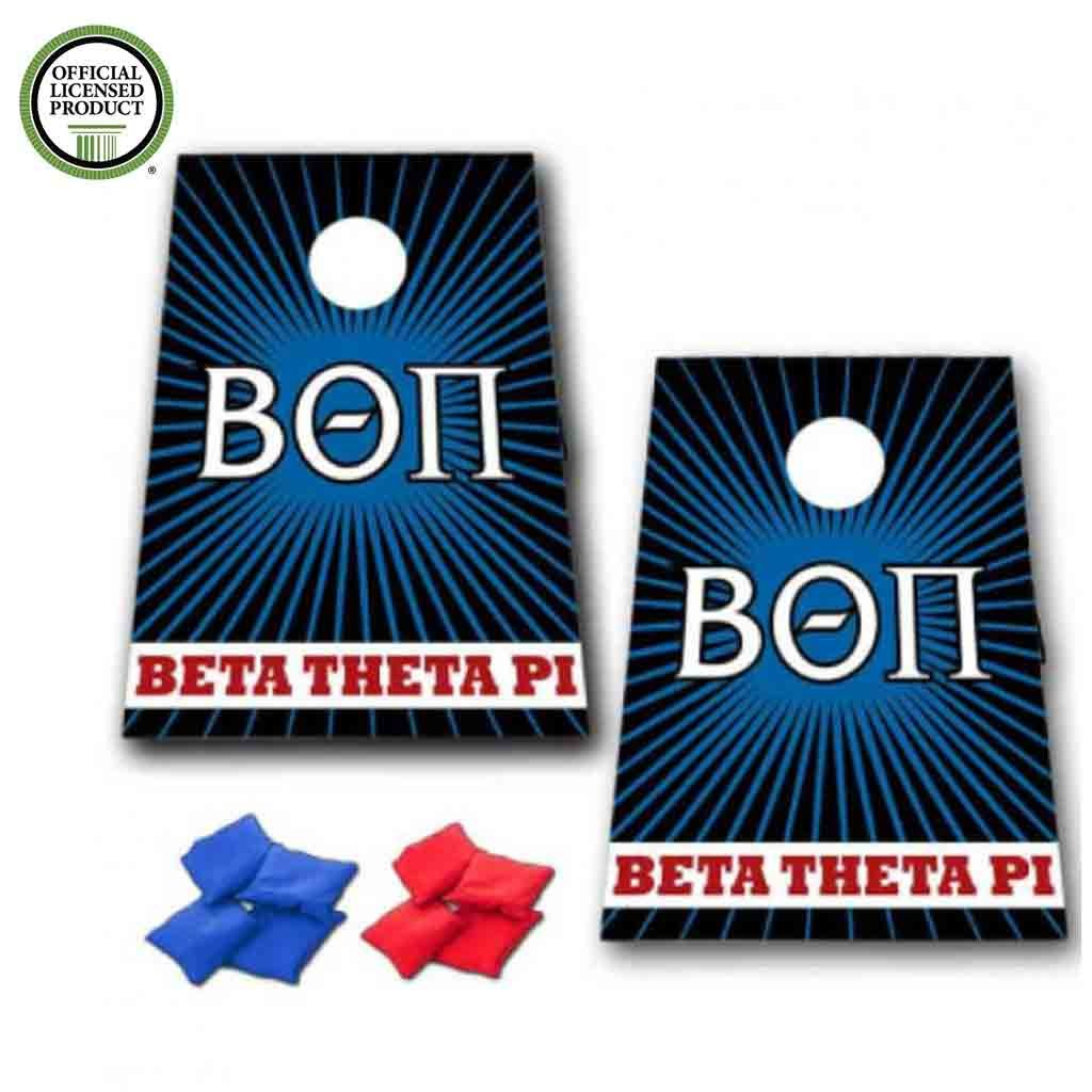VictoryStore Beta Theta Pi Cornhole Game - Burst Design #2 Bag Toss Game - 8 Bags Included - Wooden Boards - Great for Beta Theta Pi Rush by VictoryStore