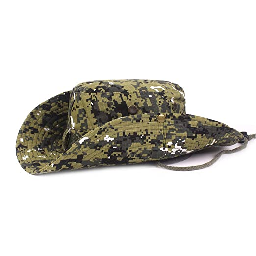 db9c3343dbd DOCILA Army Camo Military Boonie Hat for Men Vintage Cotton Green Fisherman  Cap (ArmyGreen)
