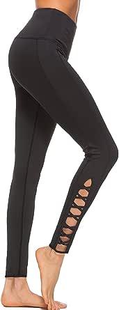 OVESPORT Women Workout Leggings Crisscross Strappy High Waist Fitness Yoga Sports Running Gym Pants