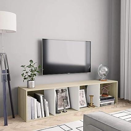 vidaXL Estantería/Mueble para TV Casa Hogar Decoración Estilo Diseño Mobiliario Muebles Sala Salón Bricolaje 143x30x36 cm Blanco y Roble Sonoma