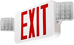 LFI Lights - Hardwired Red LED Combo Exit Sign Emergency Light - COMBOR2