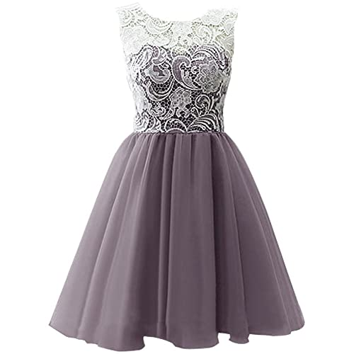 KekeHouse Ball Gown Bridesmaid Dress Mother and Daughter Dress Flower Girl Floral Lace Short Prom Dress