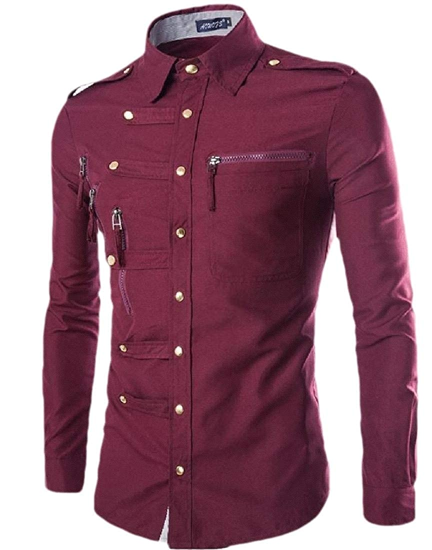 HTOOHTOOH Mens Casual Long Sleeve Button Down Blouses Shirts Tops