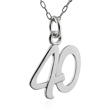 d3b058f3c Amazon.com: Sterling Silver Number 40 Charm Pendant Necklace, 18 ...