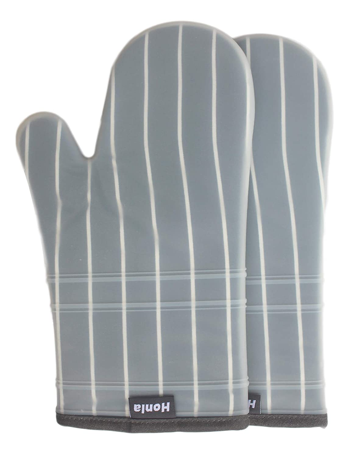 Honla Silicone Oven Mitts with Stripe Fabric and Terry Cloths Lining - Heat Resistant to 500° F,1 Pair of Kitchen Oven Gloves for Cooking,Baking,Grilling,Barbecue Potholders,Gray