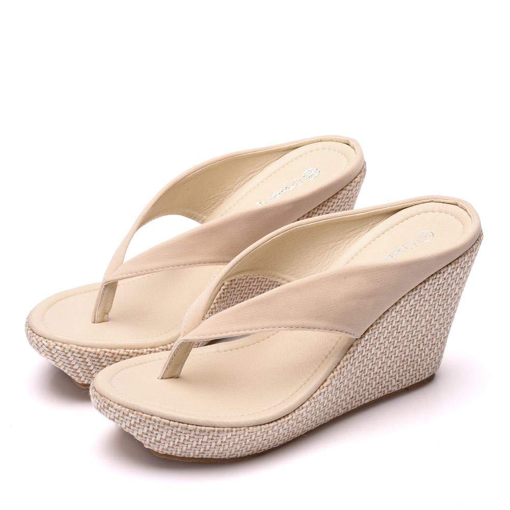 95d5a9f0b Amazon.com  Crystal Queen Women Beach Sandals Platform Wedges Sandals High  Heels Wedges Slippers Flip Flops White Flip Flops Plus Size  Shoes