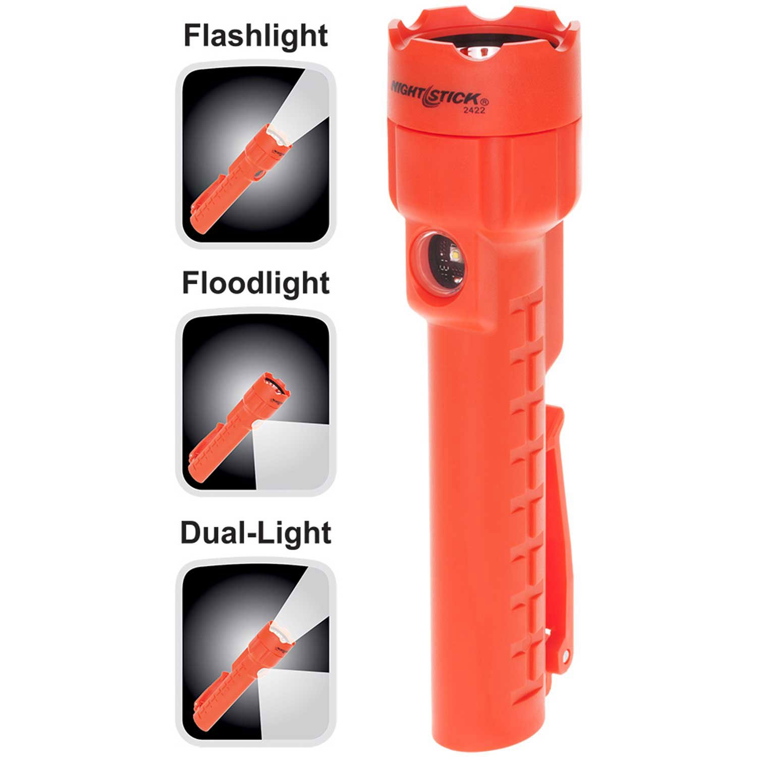 Bayco NSP-2422R Multi-Purpose Dual-Light with Magnet - Red - 3 AA Batteries (Pack of 4)