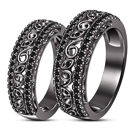 TVS-JEWELS Fashion Romantic Silver 925 Black Plated Ring AAA Black Cubic Zirconia Wedding Couple Ring by TVS-JEWELS