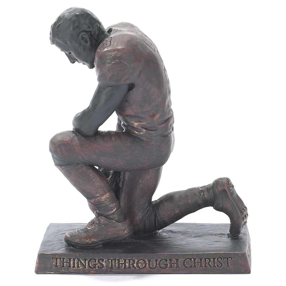 Dicksons Through Christ Praying Football 5 inch Gray Resin Stone Table Top Figurine