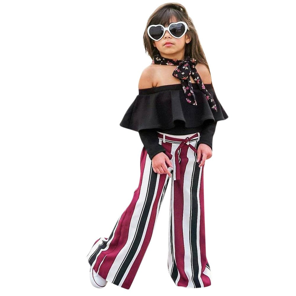 Newborn Baby Girls 3pcs Long Sleeve Off Shoulder Tube Tops Vertical Stripe Pants Retro Clothes Set Yamally Yamally_9R