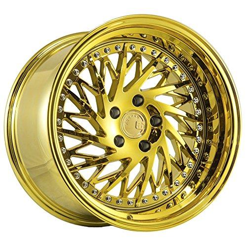 (Aodhan Wheels DS03 18x9.5; 5x114.3; 73.1; 22; (Driver Side Gold Vacuum w/Chrome Rivets))