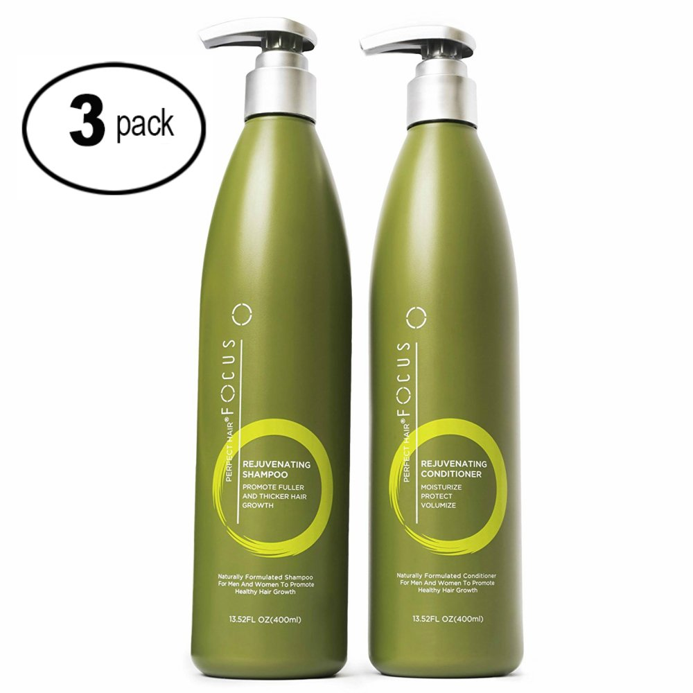 Hair Growth Shampoo and Conditioner - Enriched with Vitamin A & Keratin, Thickens Hair & Prevents Breakage - Nourishing Moisturizer for Healthy, Fuller Hair - 13.5oz (3 Pack) by Perfect Hair