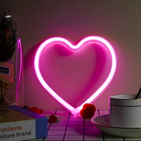 XIYUNTE Heart Neon Light Red Neon Sign Wall Light Battery and USB Operated Heart Neon Lights Heart Lamp Light up for The Home,Kids Room,Bar,Party,Christmas,Wedding