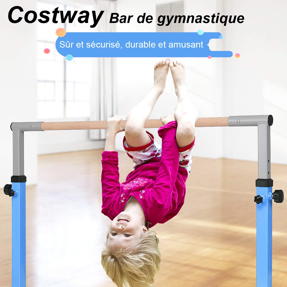 COSTWAY Barre Gymnastique en Acier Hauteur R/églable de 91 /à 150CM Capacit/é de poids100KG pour Ecole Maison Jardin Diam/ètre 4CM