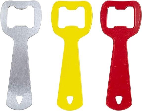 ORYX 5058000 Abrebotellas Planos Colores Surtidos 3 piezas, 18/8_Stainless_Steel