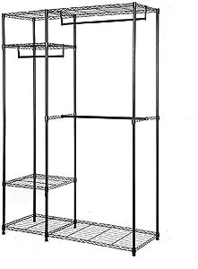 ZOKOP 4 Tier Portable Clothing Stand Rack Closet Organizer Clothes Storage Rack Hanger Home Garment Shelf(47.25