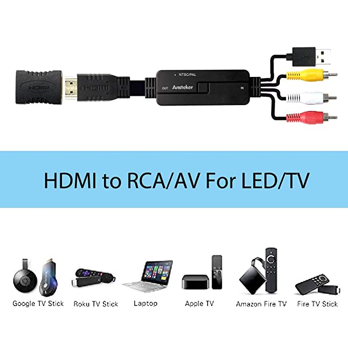 Amazon.com: HDMI to RCA Cable Ansteker HDMI to AV Converter Adapter ...