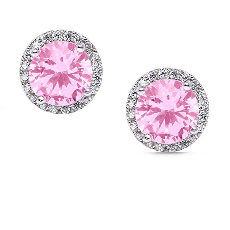 SjSilver Jewels Studded Earrings in 14K Gold Fn Simulated Diamond Daily Wear For Girls Womens