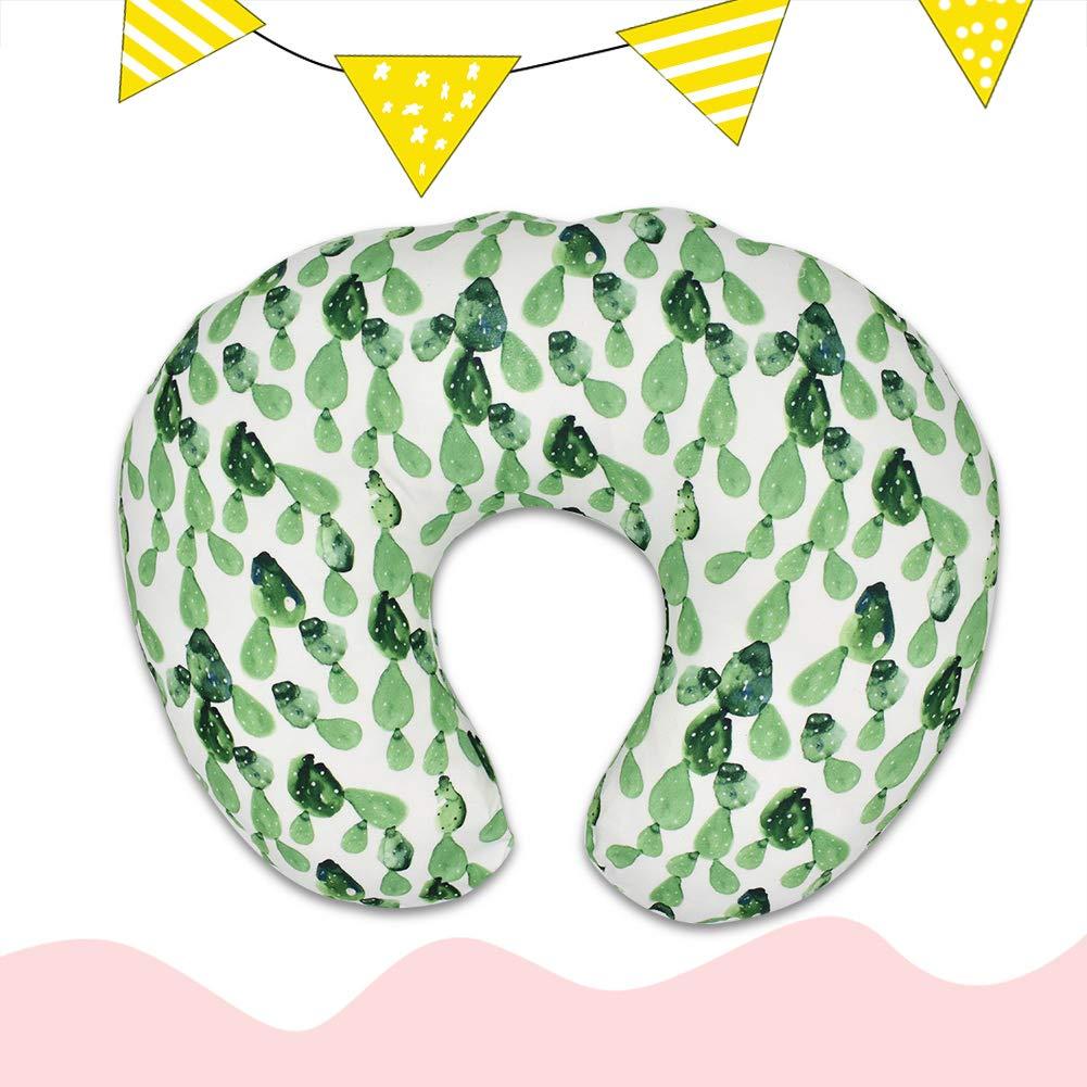 Breastfeeding U-Shaped Pillow Soft Flexible Nursing Pillow for Babies Nursing Baby Lounger Striped Green Leaf
