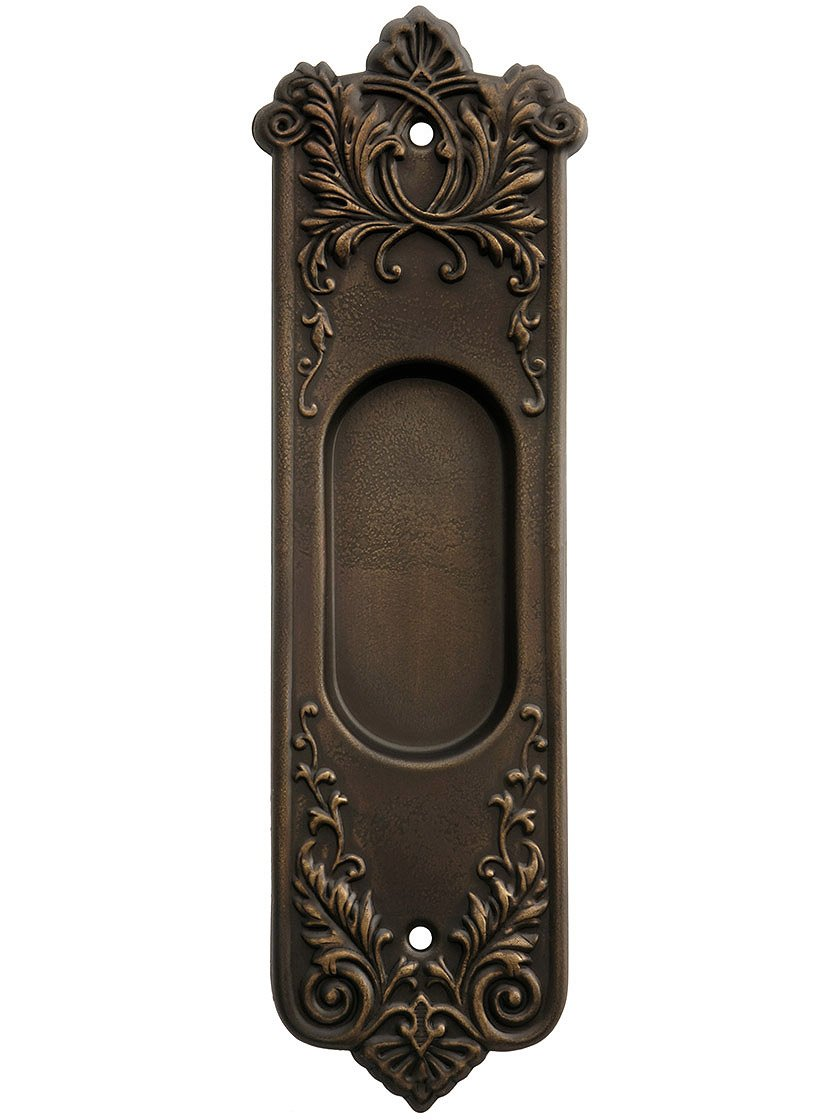 Wrought Bronze Lorraine Pattern Pocket Door Pull Without Keyhole