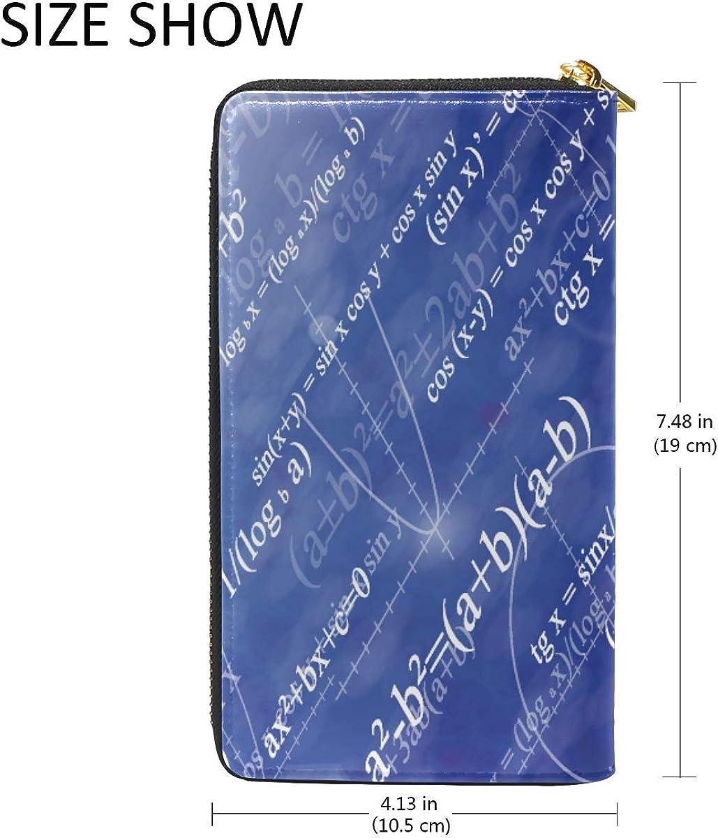 Digital Math Fomula Abstract Leather Womens Zipper Wallets Clutch Coin Case