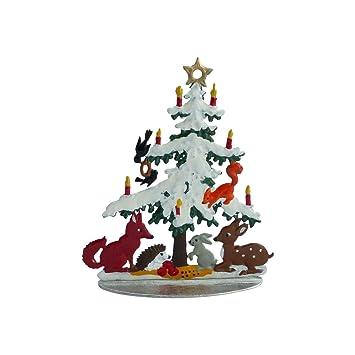 Amazon De Tiere Unterm Weihnachtsbaum Handbemalt Aus Zinn Als