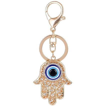 chuyun con piedras de cristal azul mal de ojo Hamsa Llavero ...