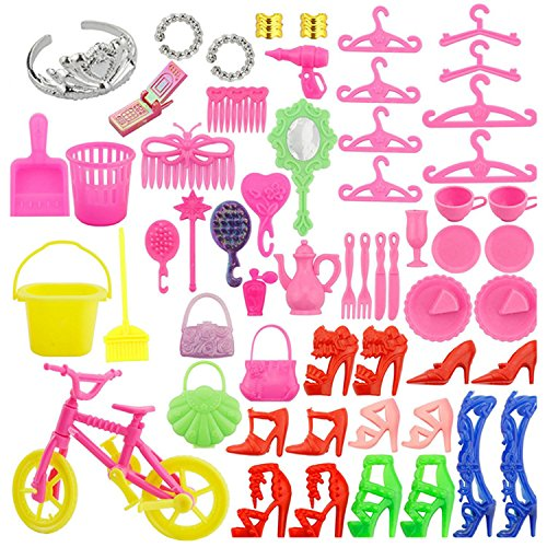 Cell Phone Barbie (55 PCS Complete Doll Accessories Kit High Heels Rings Bags Bike Cellphone Clothing And Playing Accessories for Barbie Toys Children Girls Birthday Xmas Gift)