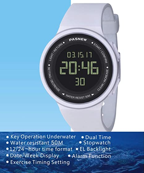 Pasnew-446 Sports Digital Watches Womens Kids Boys or Girls Watches Teenagers Students Watch with Alarm Stopwatch Multi-Functional Wrist Watches