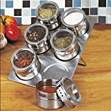 6 Pcs Kitchen Stainless Steel Magnetic Spice Jars Storage Tins With Stainless Trestle Rack