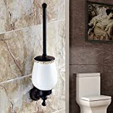 AUSWIND Antique Black Oil Bronze Toilet Brush holder with Ceramic Cup and Cover Anspicious Brass Carved