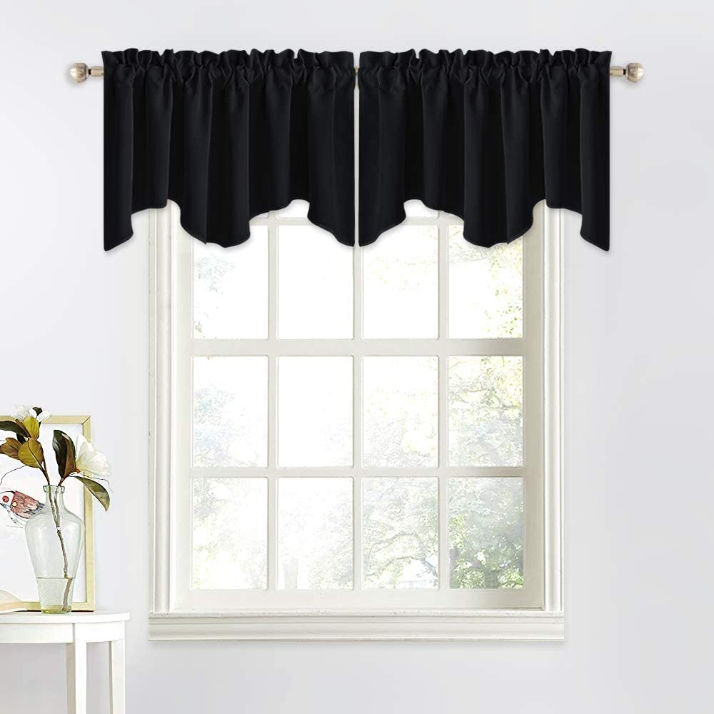 Nicetown Kitchen Window Valance Curtains W52 X L18 Scalloped Valance Blackout Curtain Drapes For Dining Room Living Room Bathroom Cafe Window Black Set Of 2 Kitchen Dining