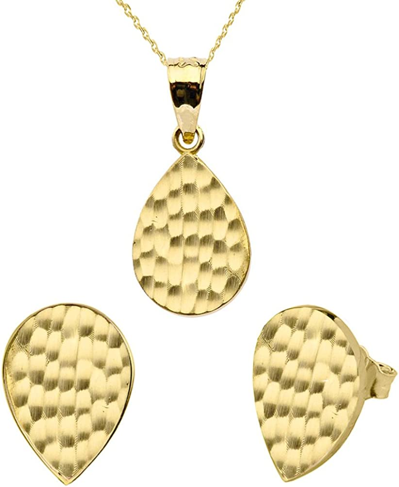 Fine 10k Yellow Gold Love Hammered Tear Drop Charm Pendant Necklace and Earring Set