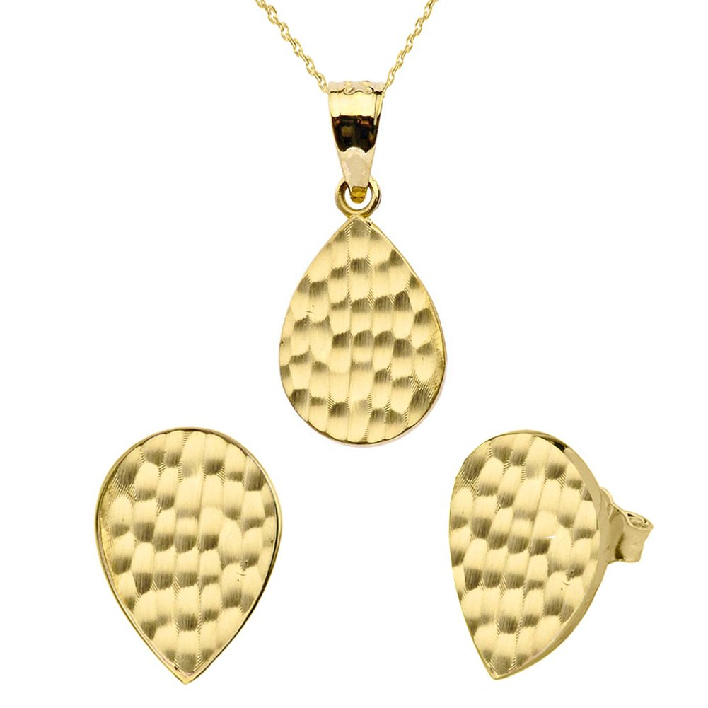 Fine 14k Yellow Gold Love Hammered Tear Drop Charm Pendant Necklace and Earring Set, 20''