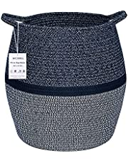 Woven Cotton Rope Laundry Hamper, Baby Laundry Basket for Nursery Room, Toy Basket with Handle,Large Storage Baskets for Yoga Mat,Blanket,Towel(16.1'' x 14.6 x12.2'',Blue & White)