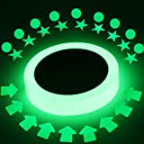 Luminous Tape Glow in The Dark 16 ft x 0.8 inch Removable Photoluminescent Green Light Glow Tape for Theatre Stage,Party,Safety Egress exit Marker with Bonus 27 pcs Glow dots,Stars,Arrow Stickers