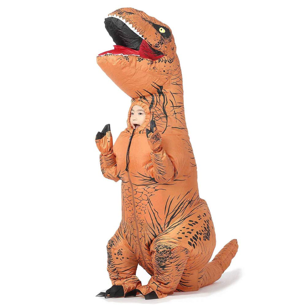 Brown Inflatable Dinosaur Costume T Rex Fancy Dress Kid Halloween Blow Up Suit (Yellow)