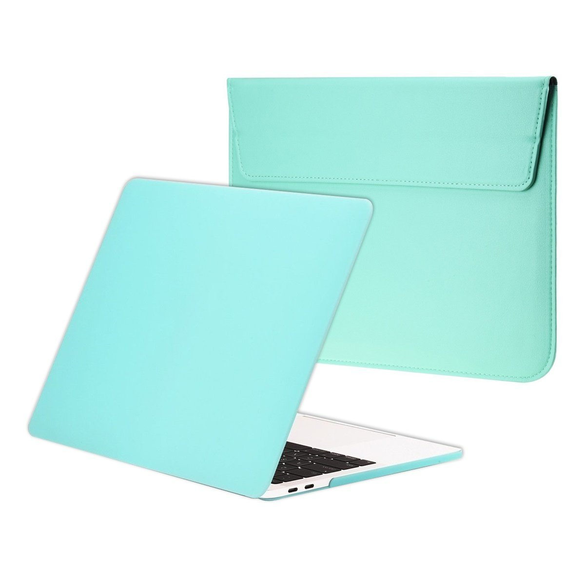 TOP CASE - Essential 2 in 1 Rubberized Hard Case + Leather Sleeve Bag Compatiable with MacBook Pro 13-inch A1989,A1706 with Touch Bar/A1708 Without Touch Bar(Release 2017,2016,2018)- Hot Blue by TOP CASE (Image #1)