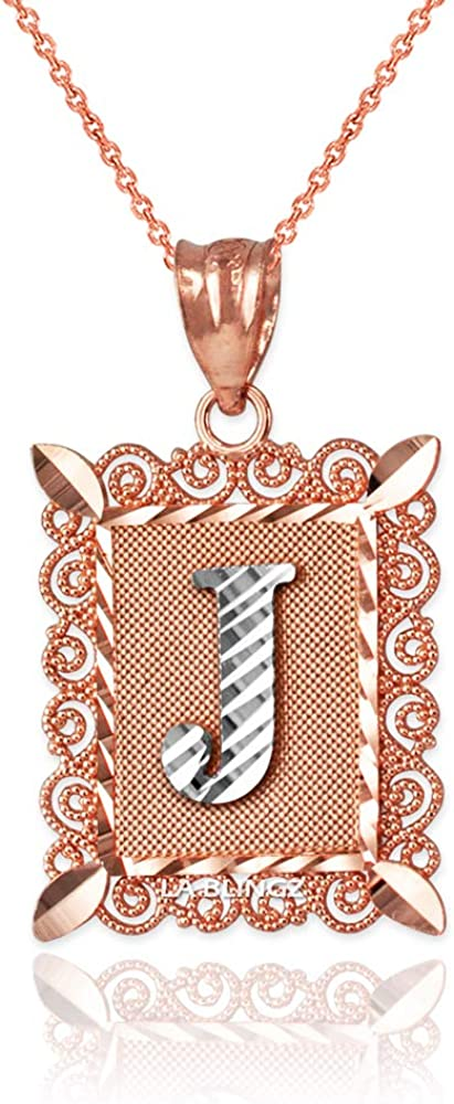 LA BLINGZ 10K Rose Gold Filigree Alphabet Initial Letter T DC Pendant Necklace