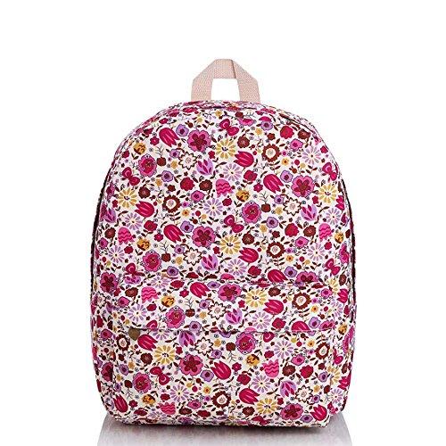 OUFLY Niñas Pastoral impresión a rayas Mochila de impresión floral Mochila de ordenador estudiante Mochila de viaje Mochila Daypack bolso Flores rojas púrpuras