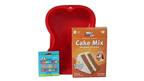 Puppy Cake Mix Dog Birthday Kit With Bone Silicone Pan And Candles Peanut