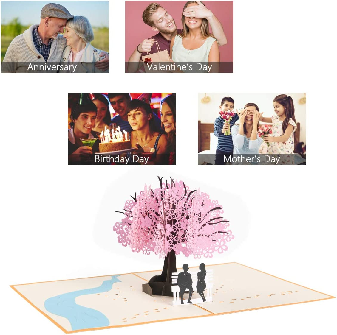 Pop Up Card with Romantic Lovers Under Cherry Tree Vicloon 3D Card Mothers Day Card Anniversary Card Valentines Day Card Wedding Card Greeting Card for Wife Husband Girlfriend Bride and Mother