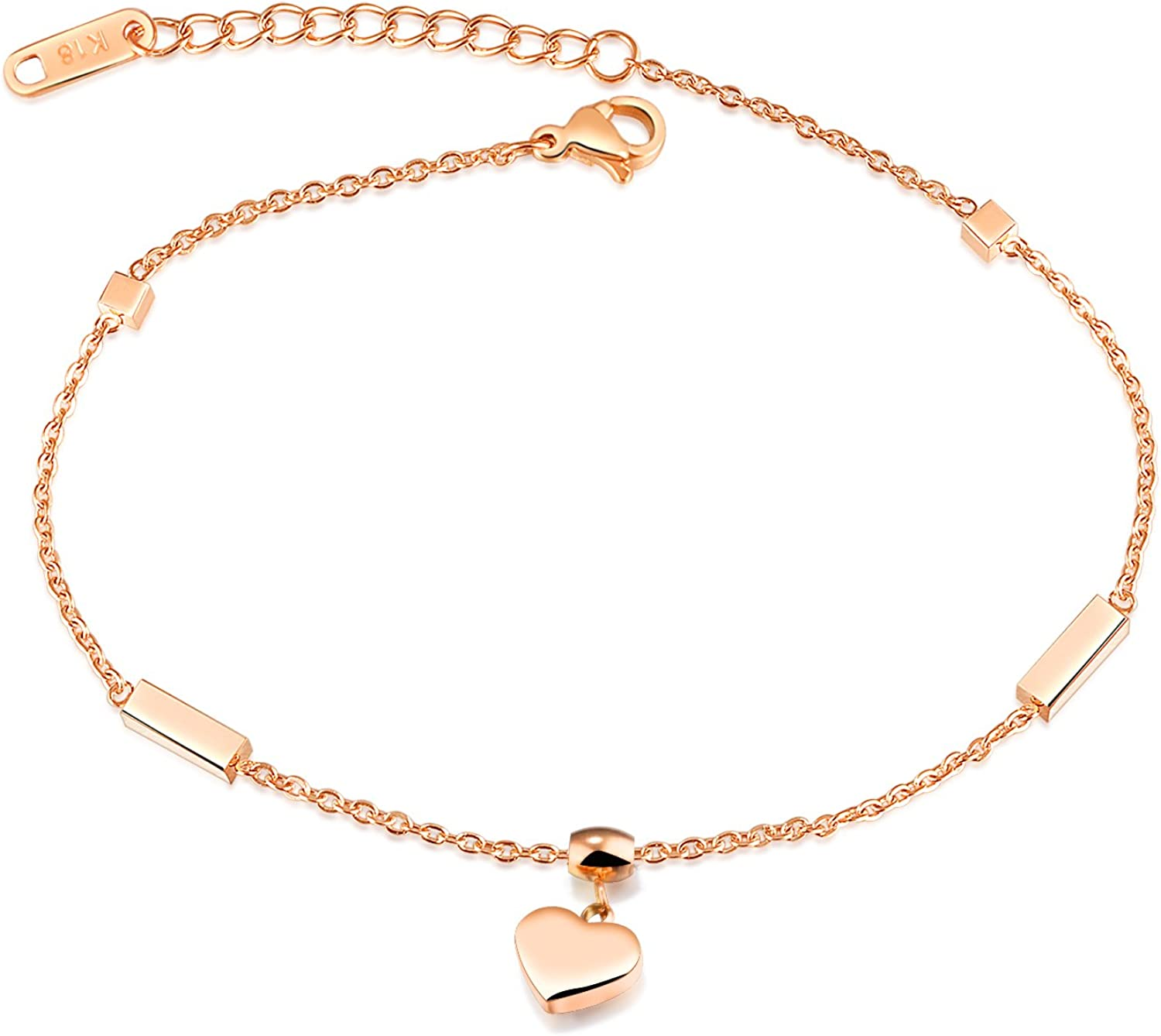 Gutcandie Ladies Roseold Stainless Steel Love Heart Pendant Anklet Ankle Chain Summer Beach Foot Jewellery for Women Girls