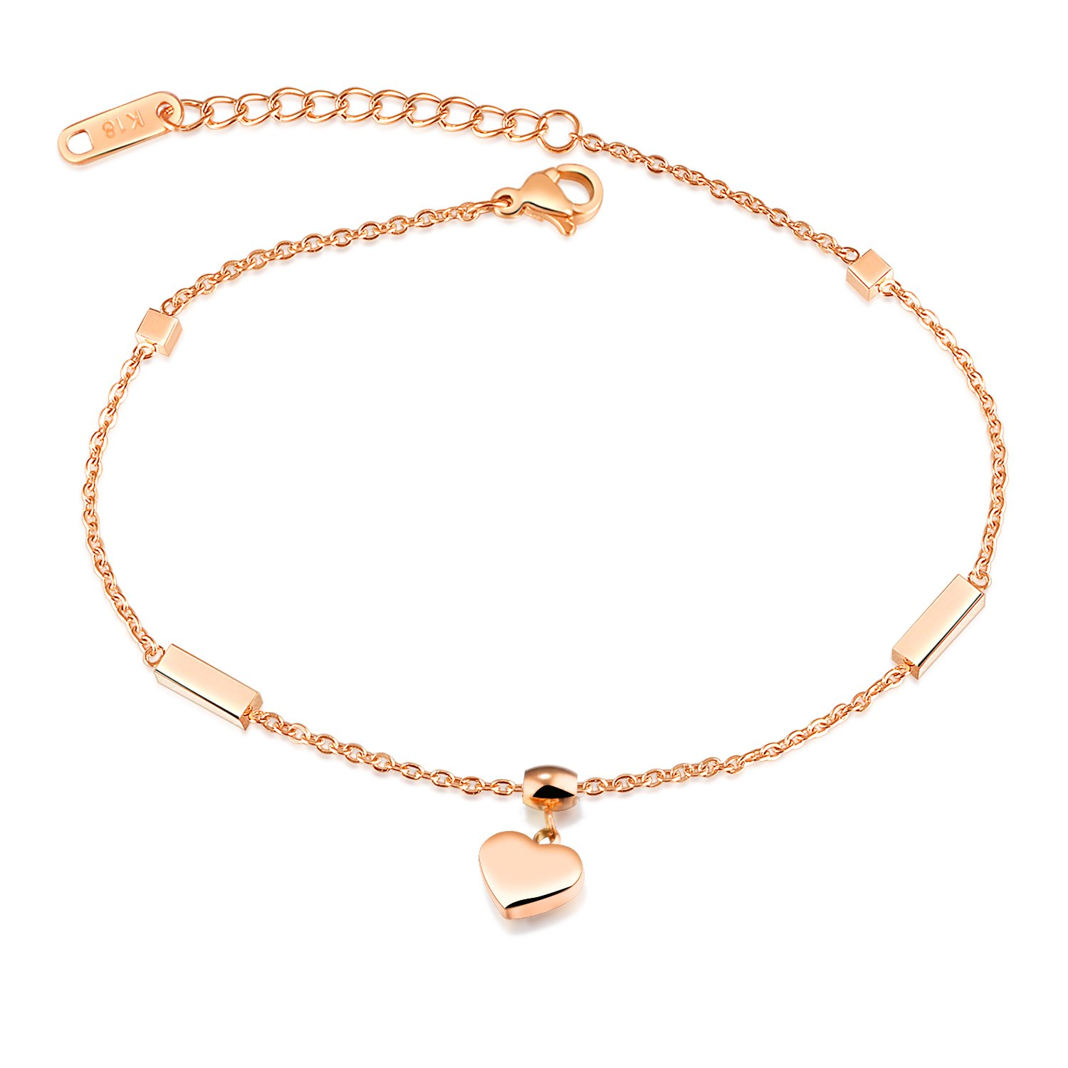 LOHOME Fashion Aanklets Rose Gold Tone Heart Charm Foot Chain Aanklet for Women L8.3+2.1''