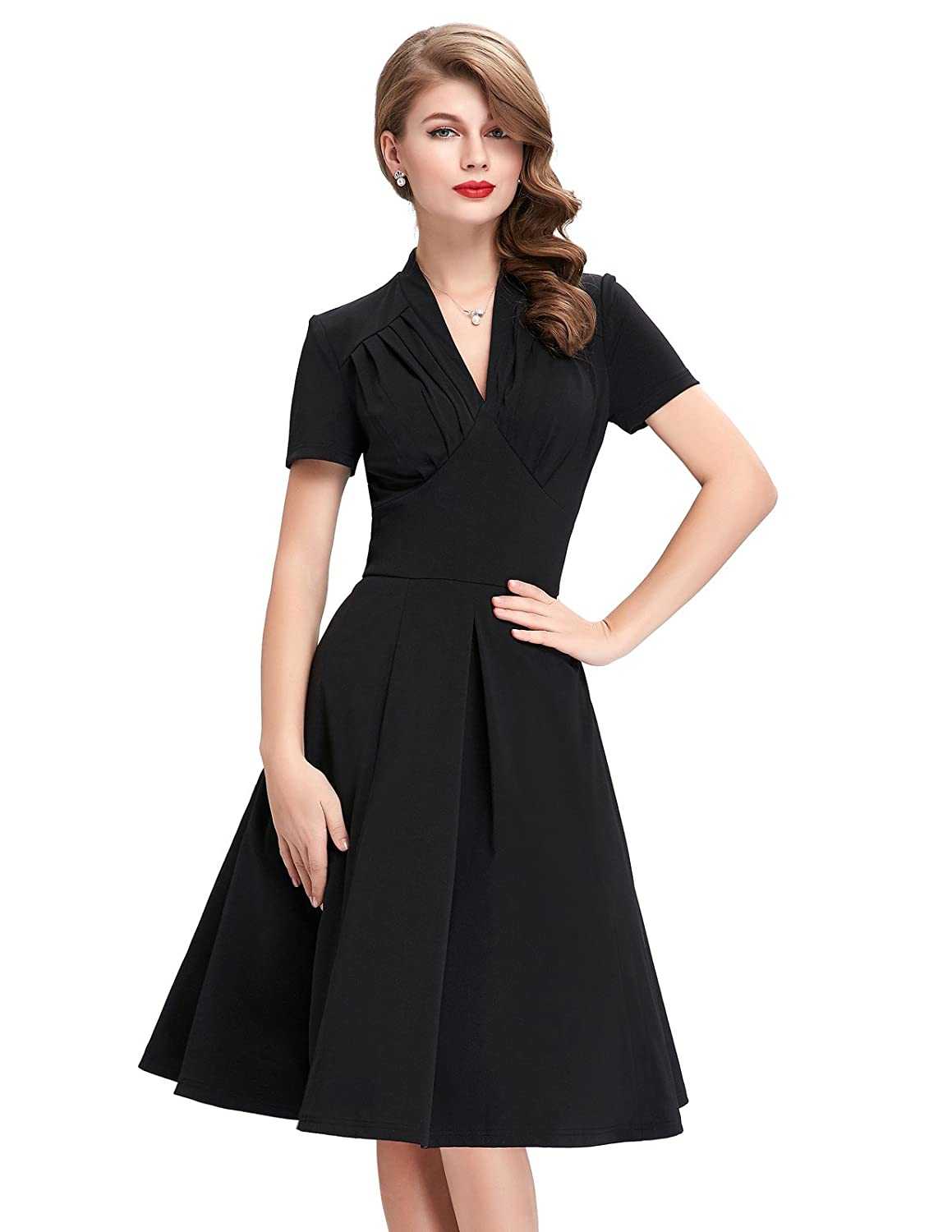 1940s Evening, Prom, Party, Cocktail Dresses & Ball Gowns V-Neck Wiggle Dresses for Women Short Sleeve BP70 / BP199 $29.27 AT vintagedancer.com