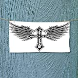 Nalahome Soft Luxury Towel Collection Heraldic Wing and Cross Christ and Christian Fable Feathers Faith King Heraldic Absorbent Ideal for Everyday use L27.5 x W13.8 inch