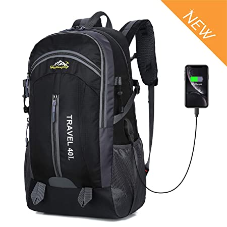 Recsolil Hiking Travel Backpack Durable Nylon 40L Outdoor Sports Travel Mountaineering Daypack with USB Charging Port Unisex