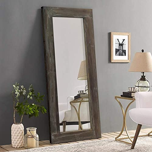 Trvone Full Length Mirror Floor Mirror Rustic Wood Frame, Hanging Vertically or Horizontally or Leaning Against Wall, Large Bedroom Mirror Dressing Mirror Wall-Mounted Mirror, 58 x24