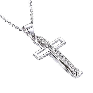 Damen 925 Sterling Silber Anhänger Ketten Hohl Kreuz Anhänger weiß rund  Kristall Extender 39,9 50e8b041fc