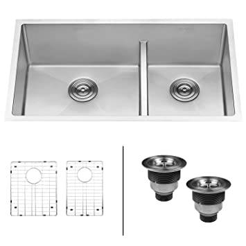 Ruvati 33 Inch Low Divide Undermount Tight Radius 6040 Double Bowl